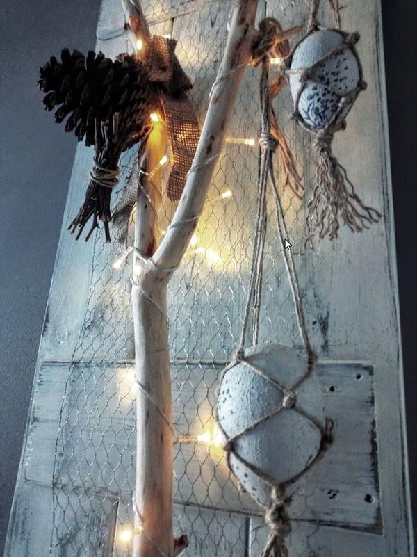 Deco-bord Paastak gemaakt van pallethout in landelijke stijl incl. verlichting