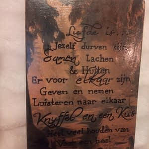 Deco-bordje: Liefde is - Tekst