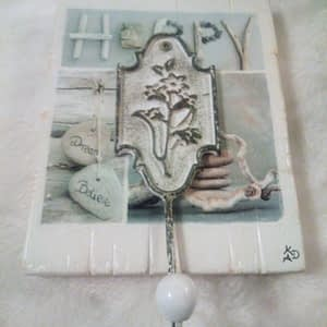 Deco-bordje: Happy (met haak)