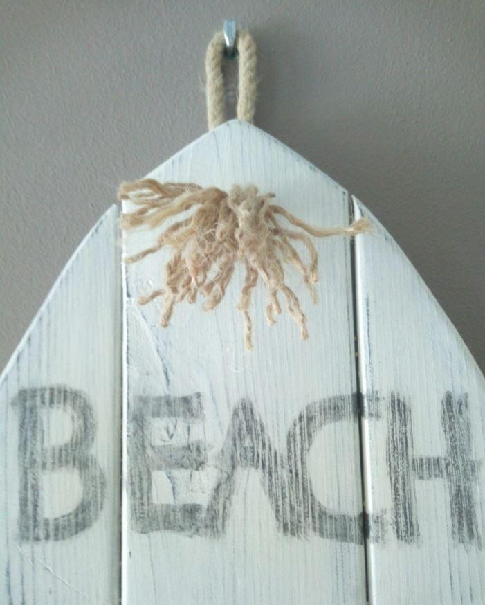 Beach House - Surfboard gemaakt van pallethout met foto