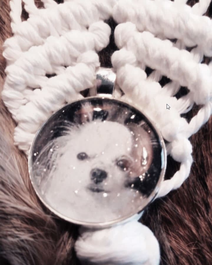 Sleutel of tas-hanger gemaakt van Macramé met afbeelding in medaillon. Als decoratie een houten bot gemaakt van vurenhout met naam