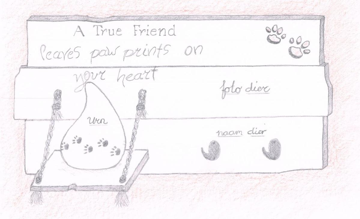 Memories - Urnenstandaard met foto en tekst - hond ontwerp
