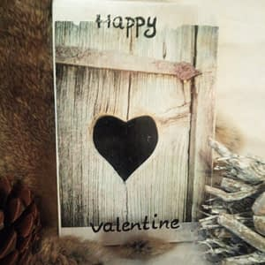 Deco-bordje: Happy Valentine - Hout