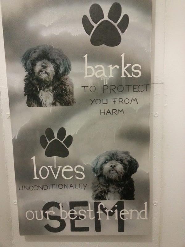 Herinneringsbord op canvas voorzien van foto's en persoonlijke tekst, als herinnering aan je dierbare huisdier