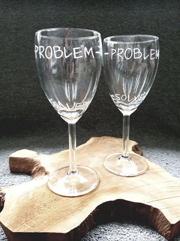 Gepersonaliseerde duo wijnglashouder