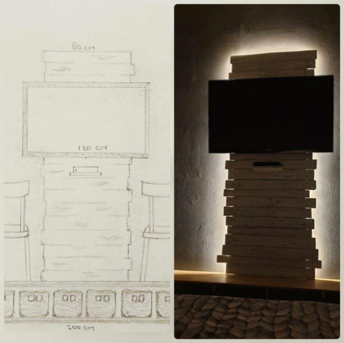 TV-wand: ontwerp vs resultaat