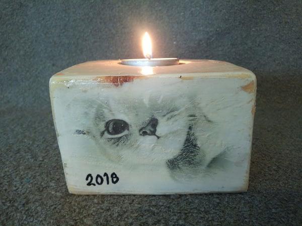 Memories - Houten waxinelichtjes houder met foto kat