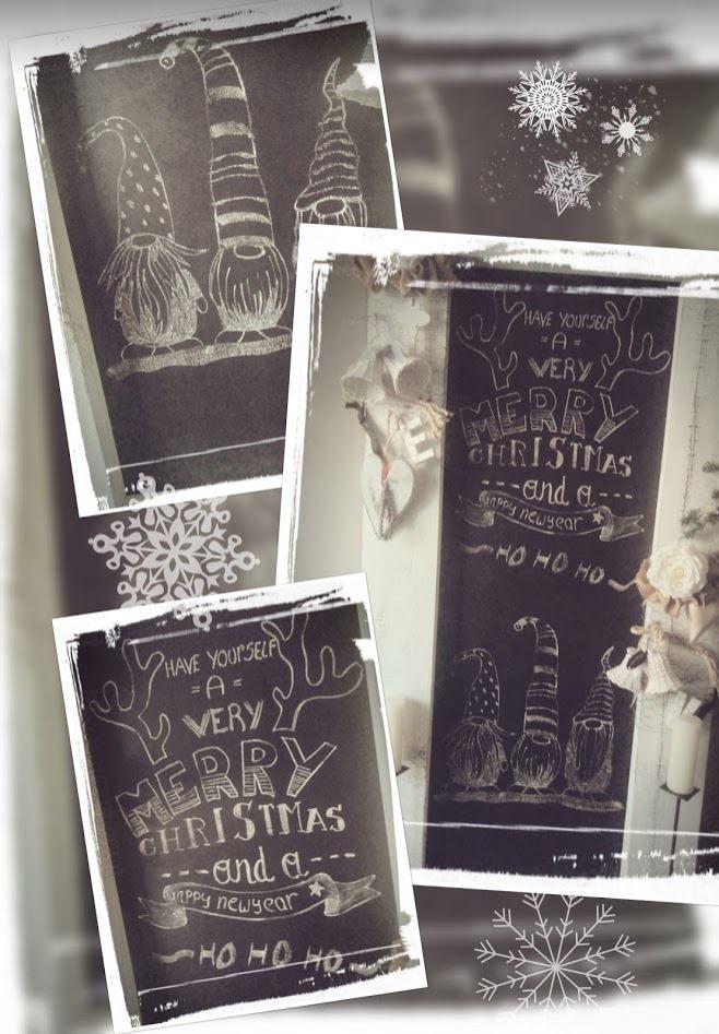 Krijttekst - Kerst met tekening