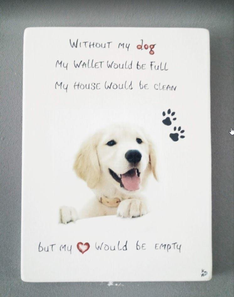 Deco-bord - Hond Golden Retriever pup op MDF