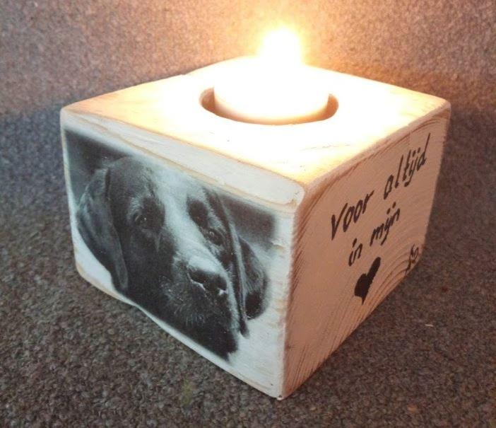 Memories - Houten waxinelichtjes houder met foto kat poes hond